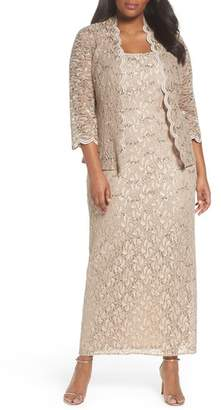 Alex Evenings Sequin Lace Gown & Jacket