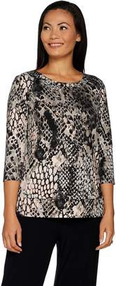 Susan Graver Weekend Printed Brushed Liquid Knit Top