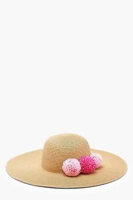 boohoo Womens Hope Straw Pom Pom Floppy Hat in Pink size One Size
