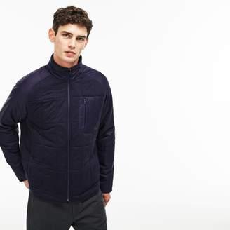 Lacoste Men's Stand-Up Collar Nylon Accent Zippered Fleece Sweatshirt