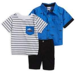 Nannette Little Boy's Three-Piece Striped T-shirt, Woven Button-Down Shirt and Solid Pants Set
