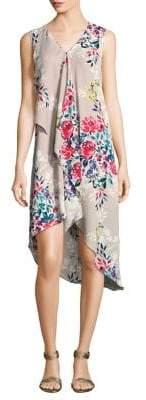 Adrianna Papell Printed Asymmetric Shirt Dress