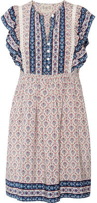 SEA - Ruffled Crochet-trimmed Printed Silk Mini Dress - Blue $425 thestylecure.com