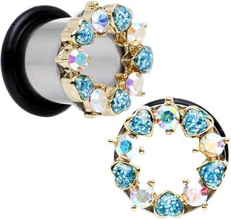 Body Candy Steel Aurora and Light Accent Heart Wreath Single Flare Tunnel Plug Set 00 Gauge