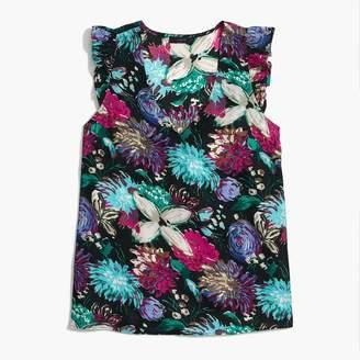 J.Crew Printed sleeveless ruffle top