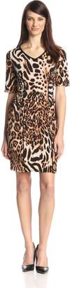 MSK Women's V Neck Animal Printed 3/4 Sleeve Dress
