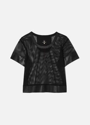 Lucas Hugh Cropped Mesh T-shirt - Black
