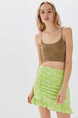 Urban Outfitters Sasha Ruched Ruffle Mini Skirt