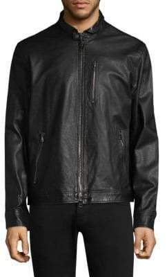 John Varvatos Classic Slim-Fit Leather Jacket