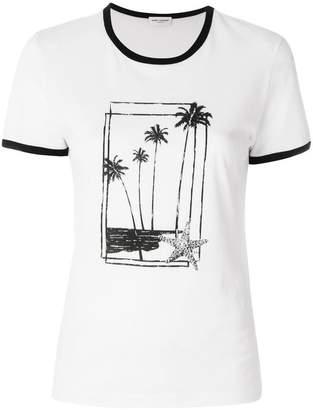 Saint Laurent palm print ringer T-shirt