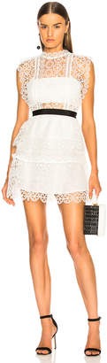 Self-Portrait Self Portrait Circle Floral Lace Tiered Mini Dress