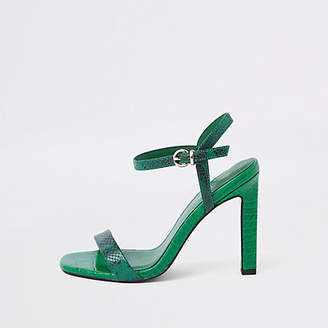 River Island Womens Green snake embossed barely there sandals