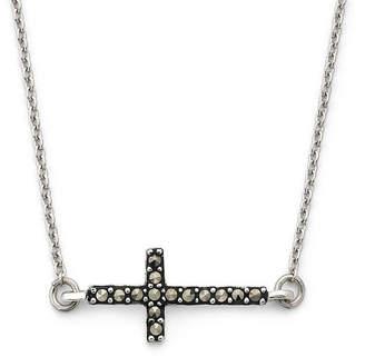 FINE JEWELRY Marcasite Sideways Cross Pendant Sterling Silver Necklace