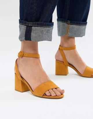 Pull&Bear Block Heel Two Part Mid Sandal In Mustard