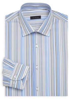 Saks Fifth Avenue COLLECTION Classic-Fit Multi-Stripe Cotton Dress Shirt
