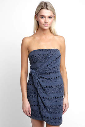 Free People Strapless Oceanside Eyelet Knit Mini Dress