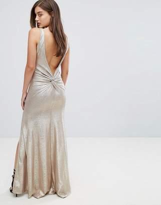 TFNC Highneck Metallic Maxi Dress With Back Knot