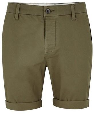 Topman Mens Khaki Stretch Skinny Chino Shorts