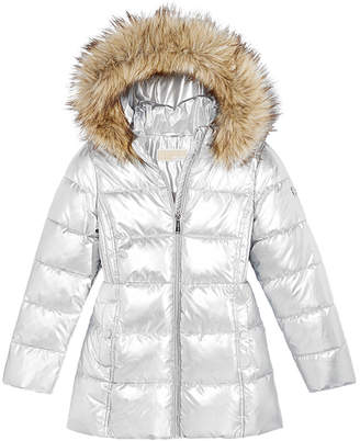 Michael Kors Toddler Girls Hooded Puffer Stadium Coat with Faux-Fur Trim