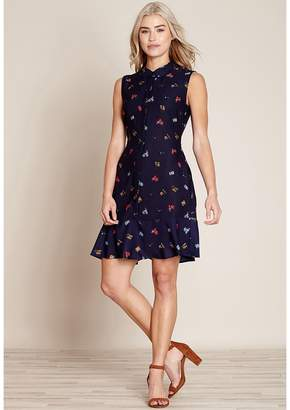 Yumi Printed Shirt Dress with Open Back