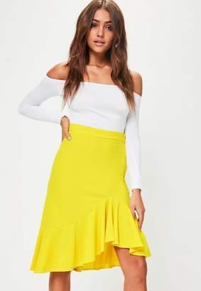 Missguided Yellow Frill Hem Midi Skirt