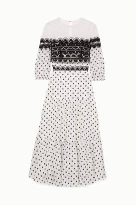Temperley London Prix Embroidered Tulle And Polka-dot Georgette Midi Dress - White