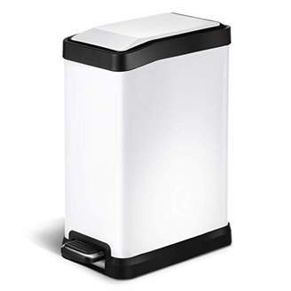 Home Zone Stainless Steel Kitchen Trash Can with Rectangular Design and Step Pedal   8 Liter / 2 Gallon Storage with Removable Plastic Trash Bin Liner
