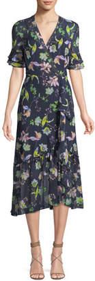 Tanya Taylor Blaire Floral-Print Silk Wrap Dress