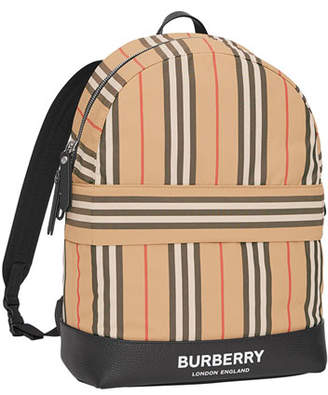 Burberry Kids' Nico Archive Stripe Canvas Backpack