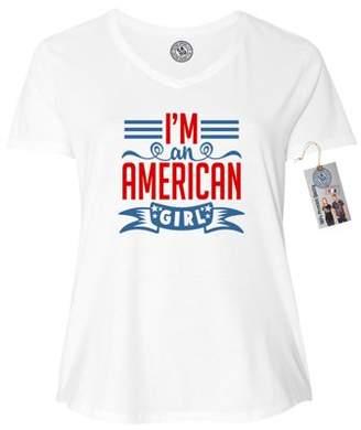 e6cdb57d417 Custom Apparel R Us I m an American Girl Cute USA Plus Size Womens VNeck  Shirt Top