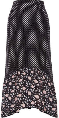 RIXO London - Leandra Polka-dot Silk-crepe Midi Skirt - Navy