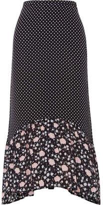 Rixo Leandra Polka-dot Silk-crepe Midi Skirt - Navy