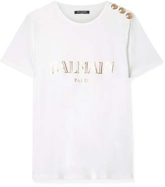 c63b4271192ece Balmain Button-embellished Printed Cotton-jersey T-shirt - White