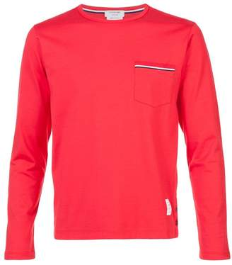 Thom Browne Long Sleeve T-Shirt With Chest Pocket In Red Cotton Jersey
