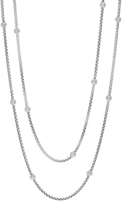 "Jai JAI Sterling Silver Station 3.7mm Box Chain 72"" Necklace, 104.9g"