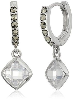 """Judith Jack """"Abalone Paradise"""" Sterling Silver Marcasite and Crystal Hoop Drop Earrings $78 thestylecure.com"""