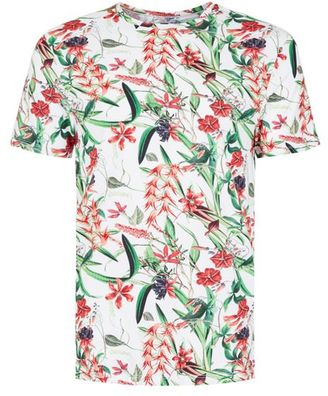 White Digital Floral Print Slim Fit T-Shirt $35 thestylecure.com