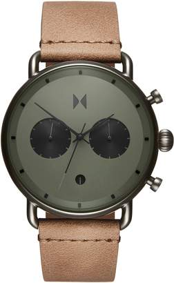 MVMT Blacktop Chronograph Leather Strap Watch