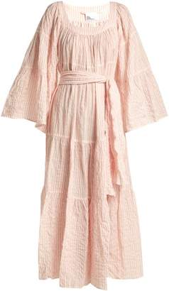 Lisa Marie Fernandez Striped Cotton Peasant Dress - Womens - Pink Multi