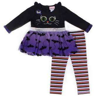 Little Lass Halloween Black Cat and Spiderweb Tutu Dress & Leggings, 2-Piece Outfit Set (Baby Girls & Toddler Girls)