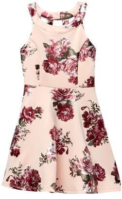 My Michelle mymichelle Floral Foil Print Scuba Skater Dress (Big Girls)