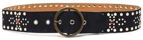 Maje Crystal-Embellished Studded Leather Belt