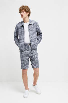 French Connenction Linen Chambray Gingham Harrington Jacket