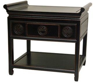 Oriental Furniture Rosewood Altar Table, Antique Black