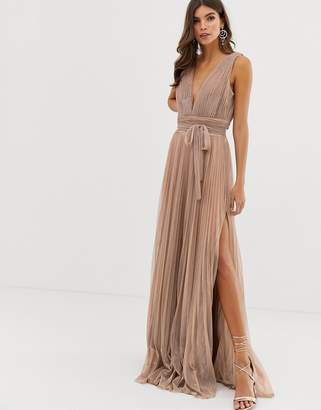 5fa6d1bdaaf1 Forever Unique plisse prom maxi dress in rose gold