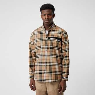 Burberry Rib Knit Detail Vintage Check Cotton Shirt