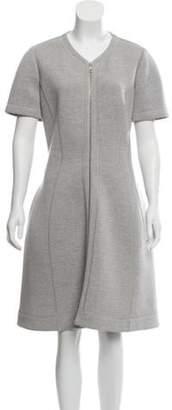 Christian Dior Wool Zip-Up Dress Grey Wool Zip-Up Dress