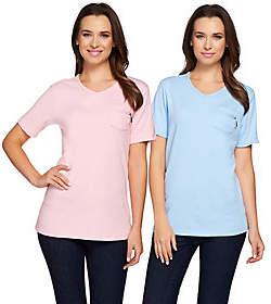Quacker Factory Set of 2 Short Sleeve T-shirtsw/Zipper Detail