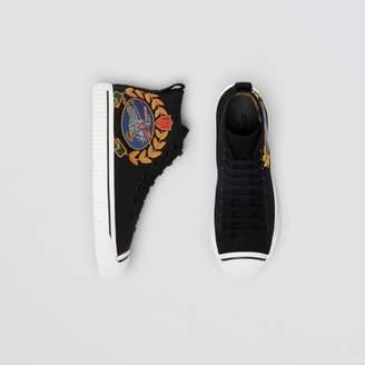 Burberry Archive Logo Cotton Gabardine High-top Sneakers , Size: 41.5, Black