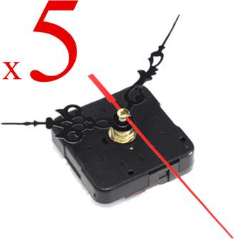 Generic Pack of 5 New DIY Wall Quartz Clock Movement Mechanism Spindle DIY Repair Tools Kit w/ Black & Red Hands For Gift Home Living Room Decoration